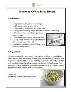 Don't let this weekend's hot weather stop you from eating delicious, fresh foods. Try this Parmesan Celery Salad. It's tasty, easy to make and won't heat up your kitchen.    Click here for the printable recipe: http://scr.bi/RFZfcF    #Foodie #Salad #Gourmet #Cooking