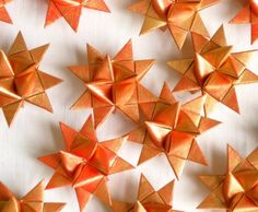 3 Stars origami paper golden red Scandinavian by SewDanish on Etsy, $12.00