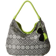 Jessica Simpson Martine Hobo (Black/White Geo Straw/Limeade) Hobo... ($61) ❤ liked on Polyvore featuring bags, handbags, shoulder bags, black and white handbags, hobo shoulder bags, handbags shoulder bags, straw shoulder handbags and hobo purses