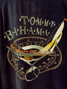 """Tommy Bahama Blue Silk Mens M """"Sail Fast Live Slow"""" Embroidered Relax Shirt #TommyBahama #ButtonFront"""