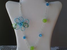 Turquoise Blue Free Form Wire Flower and Bead Necklace      From DesignswithDazzle