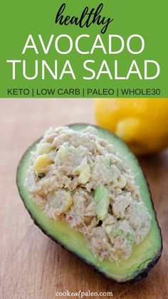 Avocado Tuna Salad (Paleo Keto 2019 Avocado tuna salad is a quick and easy healthy lunch or snack recipe in 5 minutes with just 4 essential ingredients. Gluten-free dairy-free paleo and Keto. via Cook Eat Paleo Avocado Recipes, Lunch Recipes, Seafood Recipes, Paleo Recipes, Cooking Recipes, Crohns Recipes, Tilapia Recipes, Mexican Recipes, Simple Recipes