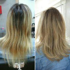 Uniformização de cor com mechas e tratamento, e um corye para dar corpo e vida ao novo cabelo! Por Tathy Knorr!