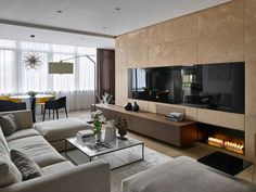 Natural Materials Adorning Sophisticated Moscow Apartment, Russia