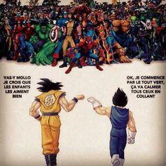 """Dragonball Z vs Marvel (""""Take it easy! Ich denke, die Kids werden's mögen."""" """"Ok, ich fange mit allen grünen an??? ... ??? ....) XD"""