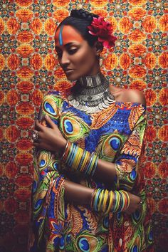 Kundalini Arts at http://kundalini.myshopify.com, #kundalini #art #arts #design #designer #fashion #accessories #silk #luxury, #Anushka #Menon, #Gautam #Kalra, #Surelee #Joseph, #Anand #Kaira, #india #indian #exotic #shakti #divine #colourful #beauty #women #woman #figurative #contemporary #collectable #peacock #peacocks #bangles #jewellery #eyes #flowers #marigolds #orange #gold