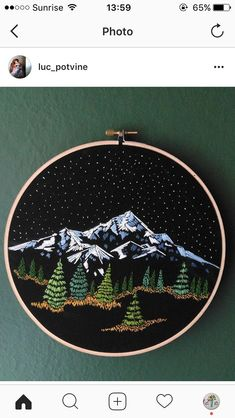 Ideas Embroidery Hoop Art Mountains For 2019 – Handstickerei Embroidery Designs, Embroidery Hoop Art, Hand Embroidery Patterns, Cross Stitch Embroidery, Cross Stitch Patterns, Simple Embroidery, Ribbon Embroidery, Embroidery Tattoo, Creative Embroidery