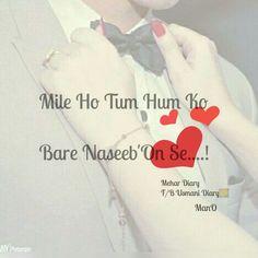 Mile ho tum humko... Love this song... ❤❤ mile ho tum humko.. Bade naseebo se... Churaya hai tumko... Haatho ki lakiro se...