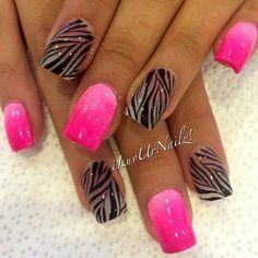 Pink ombre and zebra summer nailart #nailart #nails #summer #pink #zebra #ombre