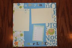 12 x 12 scrapbook layout baby boy single page by creationsbycindyg, $6.00