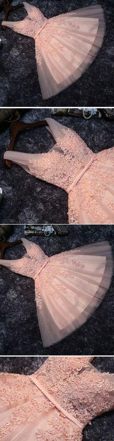 Homecoming Dress Short,Prom Dress Short,Cheap Prom Dresses,Cheap Homecoming Dresses,Cheap Evening Dress,Homecoming Dresses Cheap,Quality Dresses,Party Dress,Fashion Prom Dress,Prom Gowns,Dresses for Girls,Blush Pink Short Bridesmaid Dress,Prom Dress,Lace Appliqued Tulle Homecoming Dress,SH60 #Homecomingdresses