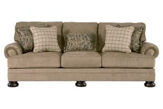 Ashley Furniture Signature Design - Keereel Sofa with 5 Pillows - 3 Seats with Plush Upholstery - Traditional - Sand *** Check this awesome product by going to the link at the image. (This is an affiliate link) Bedroom Sofa, Living Room Sofa, Living Rooms, Condo Living, Living Area, Ashley Sofa, Homemakers Furniture, Upholstered Sofa, Sectional Sofa