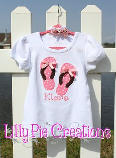 Customized Flip Flop Applique Tshirt with by LillyPieCreation
