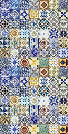 The azulejo is one of the strongest cultural expressions in Portugal and one of the most original contributions of the creativity genius of the Portuguese in world culture. Tile Patterns, Textures Patterns, Tile Design, Pattern Design, Portuguese Tiles, Tile Art, Islamic Art, Backsplash, Interior Design