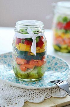 33 Healthy Mason Jar Salads - Cucumber, Celery and Tomato with Lemon Dressing