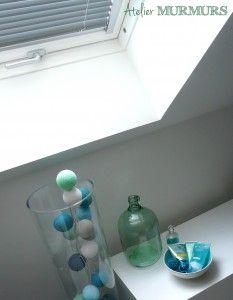 Création d'une salle de bain sous combles, en gris, bleu turquoise, lagon, menthe et vert d'eau #salledebain #bathroom #renovation #architecture #decoration #combles #douche #bains #baignoire #bleu #gris #noir #lagon #menthe #mint #turquoise #canard #projet #chantier #mosaique #bubu #velux