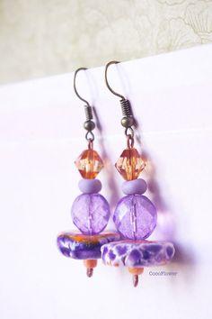 #Orange #Mauve #earring #artisan #ceramic #CocoFlowerShop  www.cocoflower.net