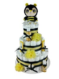 Baby Bumble Bee, gender neutral diaper cake, front view