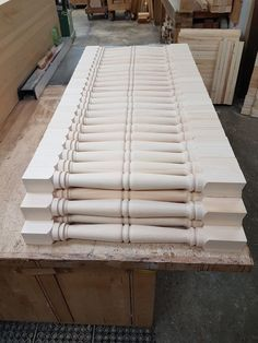 These wood spindles are our G pattern. The bottom is v-notched to sit on a v-shape shoe rail. To allow for rain run-off. Rain, Shoe, Table, Pattern, Furniture, Home Decor, Rain Fall, Zapatos, Decoration Home