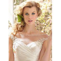 Elegante trouwjurk van satijn met boothals mooie bruidsjurk