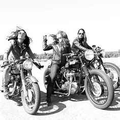 Black and White vintage photo female bikers
