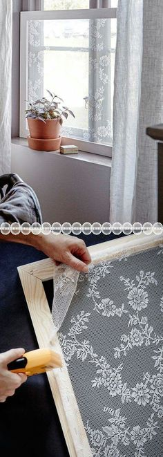 """bellapinquecottage: """"Bella Pinque Cottage's """"So Do~Able"""" #2: Lace Window Screen. With nothing more than a tape measure (for your frame, and lace sizes), heavy duty stapler, and trip to your local..."""