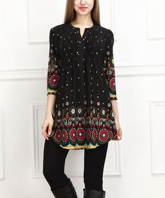 Look what I found on #zulily! Black & Red Circle Notch Neck Tunic by  #zulilyfinds