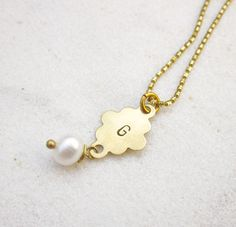 Initial hand stampd necklace personalized monogram necklace