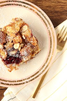 Easy Baked Croissant French Toast with Almonds & Raspberry Jam