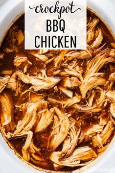 Crockpot BBQ Chicken - Only 3 ingredients and 5 minutes prep! Tender, flavorful and juicy shredded BBQ chicken that's perfect for sandwiches, salads, tacos, pizza and more. #bbq #bbqrecipes #bbqchicken #bbqsauce #chicken #chickenfoodrecipes #chickenrecipes #crockpot #crockpotrecipes #slowcooker #slowcookerrecipes #easyrecipe #easydinner #recipes #iheartnaptime #crockpotbbqchicken