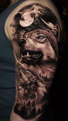 50 of the most beautiful wolf tattoo designs the internet has ever .- 50 der schönsten Wolf Tattoo Designs, die das Internet je gesehen hat 50 of the most beautiful wolf tattoo designs the internet has ever seen – – - Animal Sleeve Tattoo, Best Sleeve Tattoos, Tattoo Sleeve Designs, Tattoo Designs Men, Galaxy Tattoo Sleeve, Forest Tattoo Sleeve, Galaxy Tattoos, Ocean Tattoos, Circle Tattoos