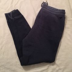 American Eagle jogger Blue distressed jogger sweatpants. Tie waist. Side pockets. Size medium. No trades. Please use offer feature. American Eagle Outfitters Pants Track Pants & Joggers