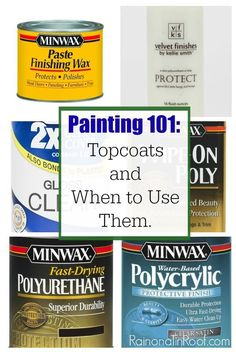Woodworking 101 Lists lots of different topcoats, what to use each one on and how to do it. Painting Topcoats and when to use them - Lists lots of different topcoats, what to use each one on and how to do it. Painting Topcoats and when to use them Old Furniture, Repurposed Furniture, Furniture Projects, Furniture Makeover, Diy Projects, Furniture Refinishing, Luxury Furniture, Salon Furniture, Furniture Stores