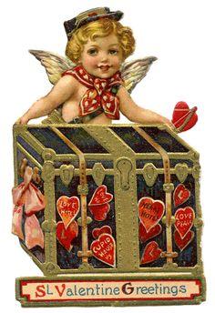 Vintage Valentine Image - Cupid Postman from Graphics Fairy!