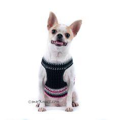 Negro y caliente rosa perro arnés chaleco algodón suave por myknitt