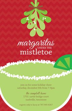 #christmas party #invitation #invite // #Margaritas under the #Mistletoe by sweetwishesstore