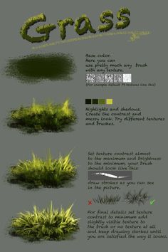 Difference between texture and plain brushnthartyfievi deviantart com ar More tutorials are coming soon grass trees water ice Digital Painting Tutorials, Digital Art Tutorial, Art Tutorials, Concept Art Tutorial, Canvas Painting Tutorials, Drawing Tutorials, Painting & Drawing, Watercolor Paintings, Painting Grass