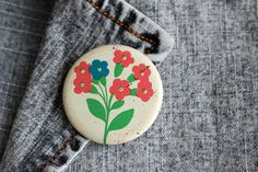 Vintage Floral Badge, Forget-me-not Pin, Russian Pin Button, Soviet Pinback Button, White Blue Green Pink, Retro Brooch, USSR Fashion