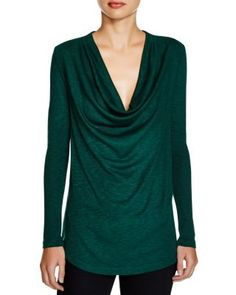 Three Dots Alyssa Draped Slub Jersey Top | Bloomingdale's