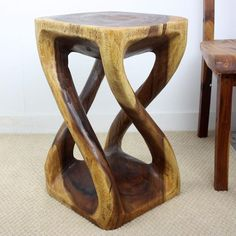 Thai furniture Vine Twist Stool hand carved solid wood in a natural walnut oil finish