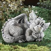Mythical Sleeping Baby Dragon Garden Sculpture from Collections Etc.