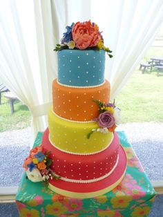Summer Colours Wedding Cake