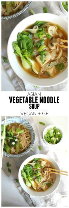Asian Vegetable Noodle Soup ~ full of healthy veggies, protein packed tofu and gluten free noodles.the perfect vegan meal for the cold season! Vegan Soups, Vegetarian Recipes, Healthy Recipes, Vegan Meals, Diet Recipes, Vegan Recipes Asian, Healthy Breakfasts, Recipies, Miso Soup Recipes