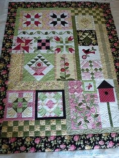 longarm freehand quilting of a spring sampler quilt with many additional pics of close ups
