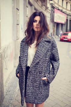 textured coat + subtle ombre hair.