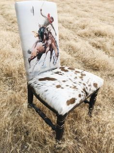 Designing A Piece of Upholstered Furniture - The Rusted Roan - cowboy Charlie Russell Chair Cowhide Decor, Cowhide Furniture, Western Furniture, Upholstered Furniture, Rustic Furniture, Home Furniture, Industrial Furniture, Outdoor Furniture, Furniture Ideas