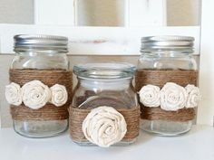 Reserved for Cindi V. Jute Wrapped Mason Jars and candy jar Set of 4 Uses For Mason Jars, Pint Mason Jars, Burlap Mason Jars, Mason Jar Crafts, Home Crafts, Fun Crafts, Arts And Crafts, Straw Holder, Glass Candy Jars