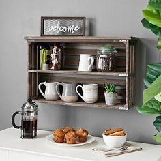 This Rustic Wood Double Shelf Wall Rack is great for storage in any space. Use it to hold coffee mugs in your kitchen or keys and wallets near your door. Kitchen Wall Rack, Kitchen Shelves, Kitchen Decor, Coffee Bar Design, Coffee Bar Home, Coffe Bar, Coffee Mugs, Diy Furniture Easy, Small Furniture