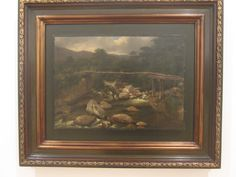 Jean Baptiste Louis Gros Irvy-Sur-Seine- Francia 1783  Paris 1870   Paisaje con puente de madera  1842 Oleo sobre papel adherido a lienzo.
