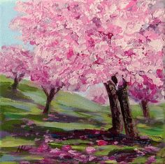 Hey, I found this really awesome Etsy listing at https://www.etsy.com/listing/206999731/cherry-tree-blossom-pink-tree-painting
